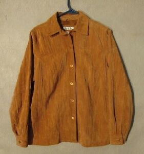 Z8463 Women's Coldwater Creek Brown Leather Button Up Long Sleeve Shirt-Small