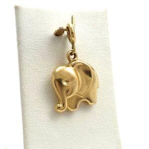 14K Gold 3D Lucky Puffy Circus Elephant Charm Pendant