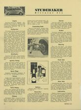 1936 Studebaker Automobiles Tune Up Spec Sheet from Motor Magazine: Dictator Six
