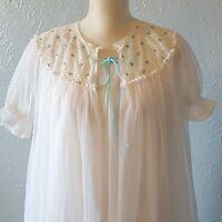 Vintage Miss Elaine Nightgown Peignoir Set Double Nylon Chiffon Bridal White S/M