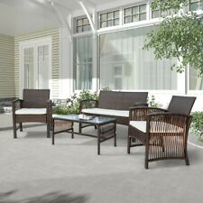 4PC PE Rattan Outdoor Patio Furniture Set Garden Lawn Sofa Wicker Table & Chair