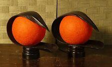 coppia abatjour etnica in cocco con palla di cotone arancio cm 31 x 13 x H 25