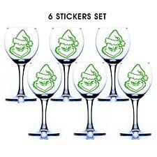 6 Grinch Santa Decal Wine Glass Mug Bottle Bauble Decoration Vinyl Sticker D