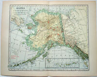 Alaska - Original 1908 Map by Dodd Mead & Co. Antique