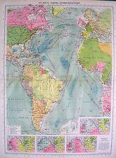 1934 mappa di grandi dimensioni ~ Oceano Atlantico comunicazioni ~ isochronic grafici