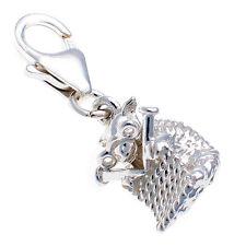 Sterling 925 British Silver Clip On Charm Knitting Sheep Alice in Wonderland