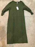 Womens L Long Sleeve Scoop Neck Ribbed Midi Dress A New Day  Grass Green NWT