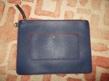 Travanti women's leather clutch bag navy red purse evening bag