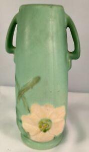 "Art Deco Weller Pottery 8"" Vase Wild Rose/Dogwood Decoration Blue-Green Ground"