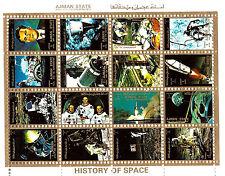 AJMAN STATES  bloc de 16 petits timbres-vignettes : Histoire de l'Espace C192
