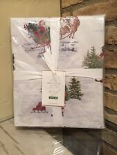 Pottery Barn Nostalgic Santa Christmas Sheet Set Queen Size New