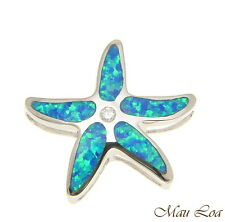 925 Sterling Silver Rhodium Hawaiian Sea Star Starfish CZ Opal Slider Pendant