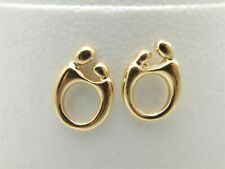 14K YELLOW GOLD MOTHER & CHILD POST EARRINGS