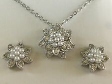 Beautiful Silver-Tone Costume CZ and Faux Pearl Necklace and Earring Set SRE1