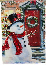 NEW LG EVERGREEN FLAG SNOWMAN SNOW PLACE LIKE HOME CHRISTMAS OR WINTER  29 x 43
