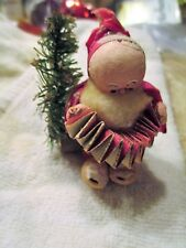 "Rare Vintage~Santa Figure 3""Tall~ Crepe,Paper Mache,Cotton,Bottle Brush,Mica"
