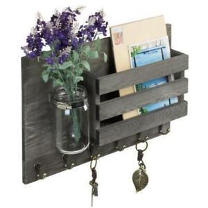 Vintage Gray Wood Entryway Office Mail Organizer Rack w/ Mason Jar & Key Hooks