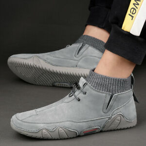 Casual Sports Shoes Ankle Boots Hiking Hiking Shoes Men Pu Leather Running Shoes