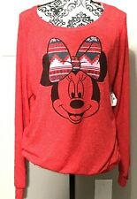 Disney Parks Minnie Mouse Shirt Red Long Sleeve Light Material  XL NWT