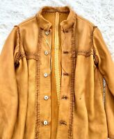 Handmade and Sinew Sewn Elk Hide Leather Coat with Deer Horn Buttons