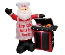 Christmas Air Blown LED Inflatable Yard Decoration Santa BBQ Barbecue Grill