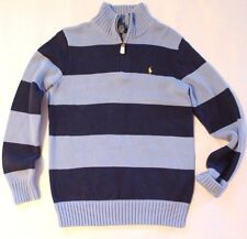 New Polo Ralph Lauren Boy's 1/2 zip Mock Neck Sweater Pullover Striped Cotton XL