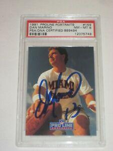 DAN MARINO (Dolphins) Signed 1991 PROLINE PORTRAITS Card #159 PSA Certified 8