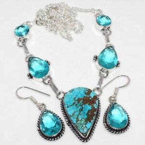 Turquoise Blue Topaz 925 Silver Plated Necklace Earrings Set Unique Jewelry GW