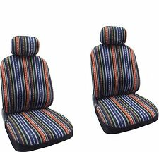 Baja Blue Colorful Stripes Design Front Seat Covers CSS3
