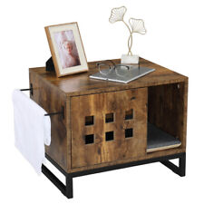 New listing Vintage Cat Litter Enclosure Pets Box Wooden Indoor House Side Table Nightstand