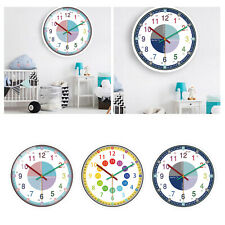 """12"""" WALL TEACHING CLOCK EASY TO READ COLOURFUL NUMERALS SILENT SWEEP PRECISION"""