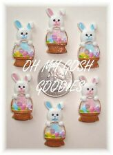 6PC EASTER BASKET BUNNIES BUNNY RABBIT PINK FLATBACK RESIN 4 HAIRBOW BOW CENTER