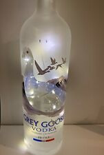 Grey Goose Vodka Glass Bottle 1.5 Litre Upcycled Lamp/Light 20 Micro LED Lights.