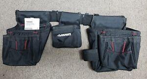 Husky 12-Pocket Black Handyman Fabric Apron Tool Belt Home Depot Work 793857