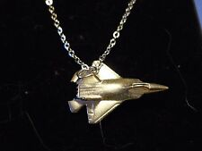 """Lockheed Martin F-22 Raptor Plane c148 On 24"""" Silver Plated Curb Chain Necklace"""