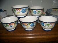Threshold CARNIGAN FIELD BOWLS ,6, Flowers, Paisley, Excellent,