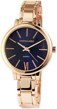 Excellanc Damen Armbanduhr 37 mm Metallarmband Blau Gold Damenuhr Armband Uhr