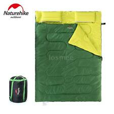 Outdoor Camping 2 Person Sleeping Bag & Pillows & Inflator & Carrying Bag L4N4