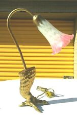 Small Brass Goose Neck & eagle claw foot  Desk Lamp / pink Tulip Glass Shade