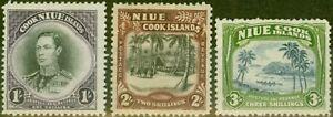 Niue 1938 set of 3 SG75-77 Fine Mtd Mint