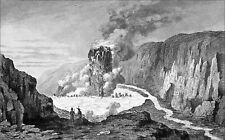 ISLANDE - CRATÈRE du VOLCAN KRAFLA - Gravure du 19eme siècle