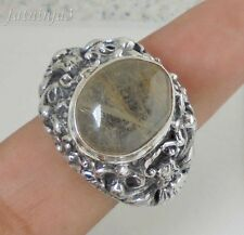 Size 9 (US) Rotile Quartz Solid Silver, 925 Bali Handcrafted Ring 32788