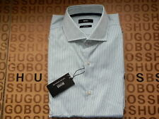NEW HUGO BOSS MENS WHITE GREEN STRIPED SLIM FIT FORMAL SUIT COTTON SHIRT 15.5 39