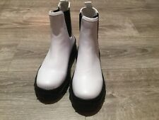 Monki Sporty Ankle Boots With Chunky Soles In White - Size Uk 4 Eur 37 - New
