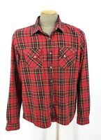 Nudie Jeans Mens Size XXL Shirt Red Plaid Cotton Snap Cowboy Western