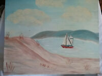 Oil Painting of a Sailboat in a Desert Lake w/ Sand Dunes, Unsigned (20x16 in.)