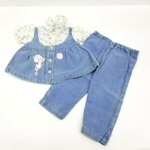 Two Piece Girls Outfit Size 2 Volleyball Blue Corduroy 1960s Vintage Cords