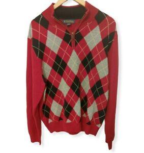 Brooks Brothers Sweater Red Black Argyle Zip Fine Italian Merino Wool Large