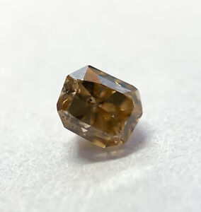 .35CT Radiant Fancy Brown Yellow GIA Certified Loose Diamond Engagement Ring