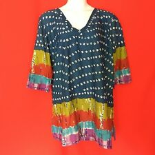 NEW Swim Avenue Women Blouse Plus Size 22 24 3X Blue Sequin Beach Tie Dye 1J82